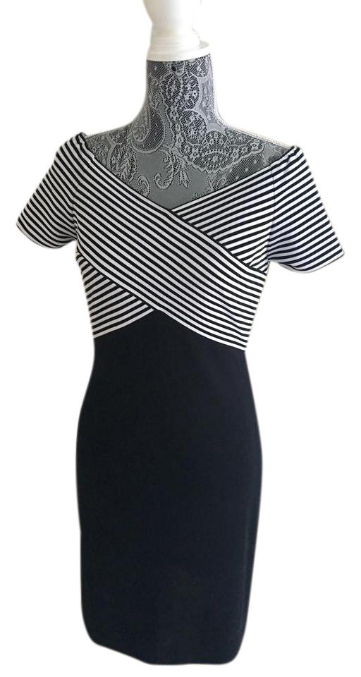 Joseph ribkoff dress black and white stripe